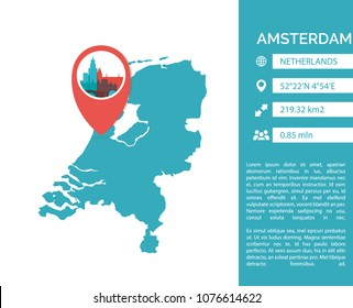 Amsterdam map shape vector infographics template. Modern city data statistic isolated illustration