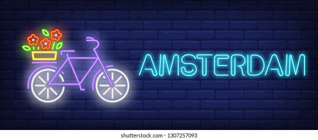 Amsterdam neon text, bicycle with flowers on luggage carrier. Flowers market design. Night bright neon sign, colorful billboard, light banner. Vector illustration in neon style.