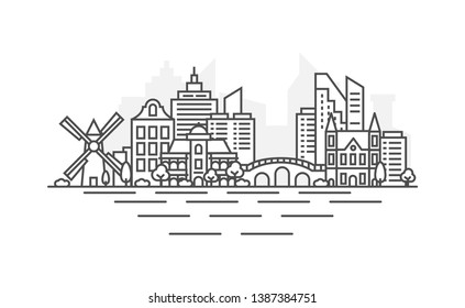 Amsterdam, Netherlands architecture line skyline illustration. Linear vector cityscape with famous landmarks, city sights, design icons. Landscape with editable strokes.