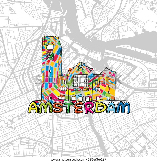 photograph regarding Printable Map of Amsterdam identified as Amsterdam Netherlands Colourful Map Indication Print Inventory Vector