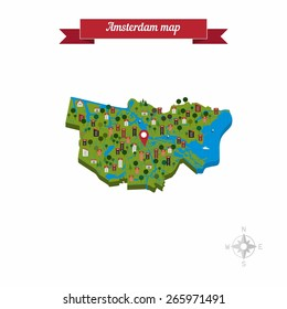 Amsterdam, Netherlands map. Flat style design - vector