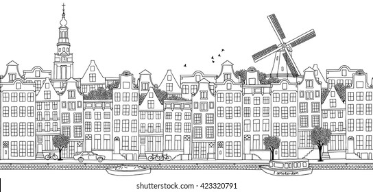 Amsterdam, Netherlands - seamless banner of the city's skyline, hand drawn black and white illustration