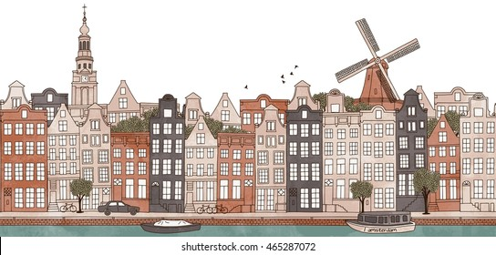 Amsterdam, Netherlands - seamless banner of the city's skyline, hand drawn and digitally colored ink illustration