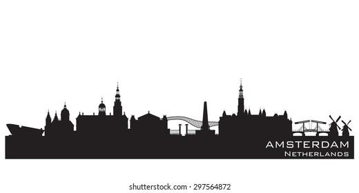 Amsterdam Netherlands skyline Detailed vector silhouette