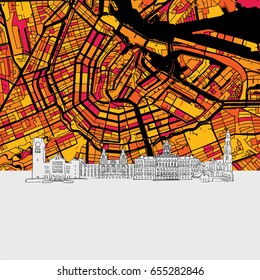 Amsterdam, Netherlands, Skyline Map, Modern Colourful Art Print with Historic Cityscape Landmarks