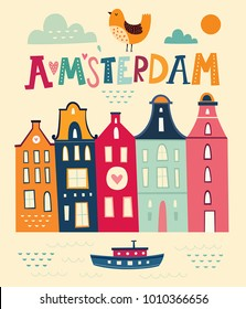 Amsterdam poster in cartoon style