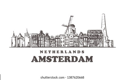 Amsterdam sketch skyline. Netherlands, Amsterdam hand drawn vector illustration. Isolated on white background.