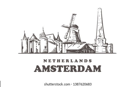 Amsterdam sketch skyline. Netherlands, Amsterdam hand drawn vector illustration. Windmills of the Zaanse Schans and Dam Square, the Castle Muiderslot. Isolated on white background.