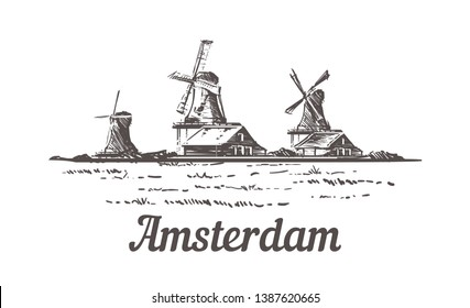 Amsterdam sketch, Zanse Schans in the open air, where a typical Dutch landscape is recreated – mills, village houses, farm, craft workshops hand drawn illustration.