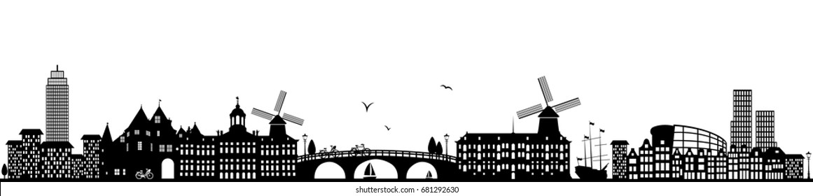 amsterdam skyline black