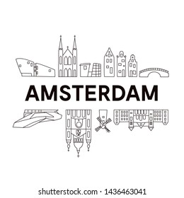 Amsterdam skyline. Cute And Funny Doodle Style. Vector illustration. Original design for souvenirs