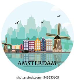 Amsterdam skyline. Flat style vector illustration.
