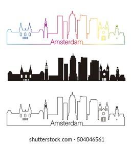 Amsterdam skyline linear style with rainbow in editable vector file
