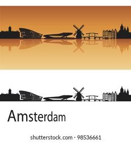 Amsterdam skyline in orange background in editable vector file