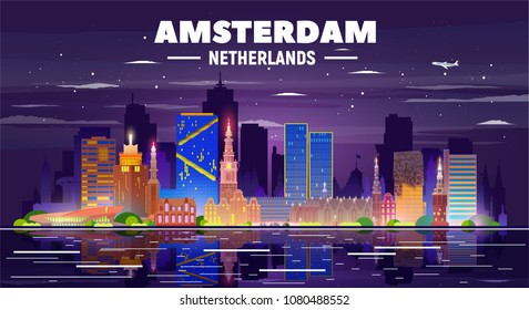 Amsterdam skyline with panorama in night background. Vector Illustration. Business travel and tourism concept with modern buildings. Image for presentation, banner, web site.