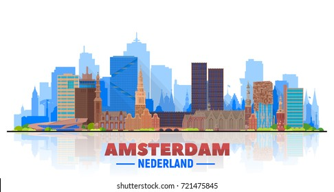 Amsterdam skyline with panorama in white background. Vector Illustration. Business travel and tourism concept with modern buildings. Image for presentation, banner, web site.