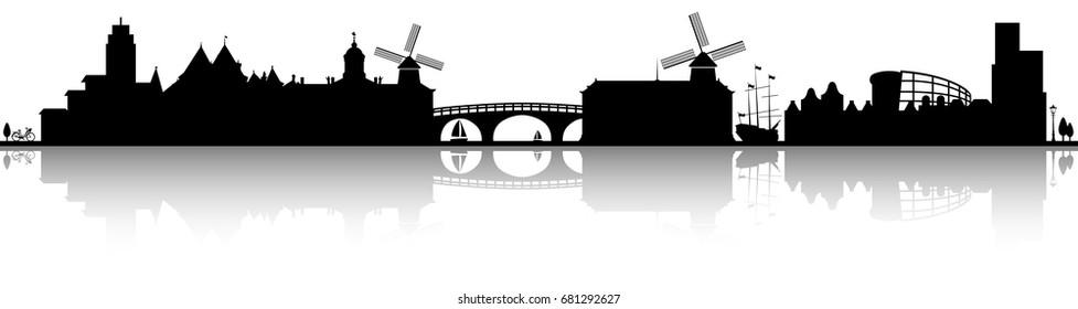 amsterdam skyline silhouette black