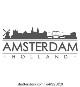 Amsterdam Skyline Silhouette Design City Vector Art