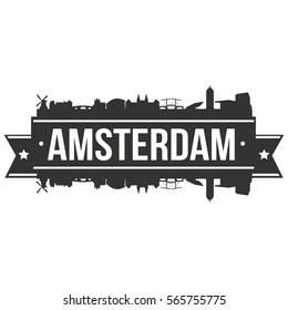 Amsterdam Skyline Stamp Silhouette City Vector Design