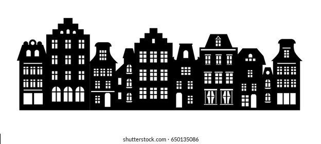 Amsterdam style houses. Laser cut silhouette. Stylized facades of buildings in old European fashion. Wood carving vector template. Dutch urban landscape in black and white.