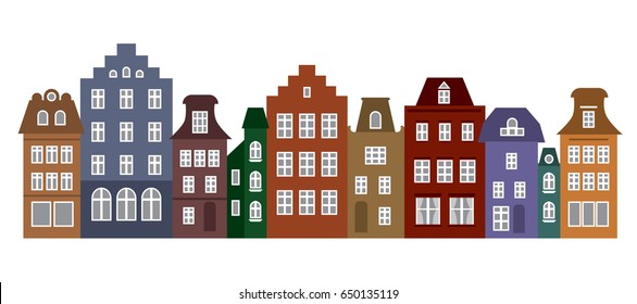 Amsterdam style houses. Laser cut silhouette. Stylized facades of buildings in old European fashion. Wood carving vector template. Colorful row of typical dutch view. Urban landscape.