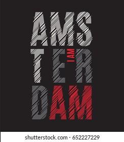 Amsterdam tee print. T-shirt design graphics stamp label typography. Vector illustration.