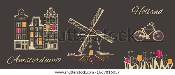 Amsterdam theme picture. Vector illustration.