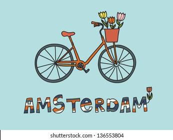 Amsterdam, vector card