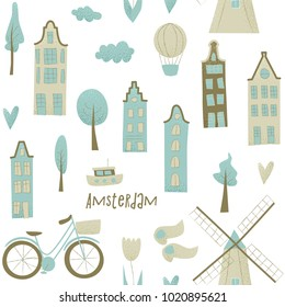 Amsterdam vector design with houses, windmill, tulip and hot air balloon