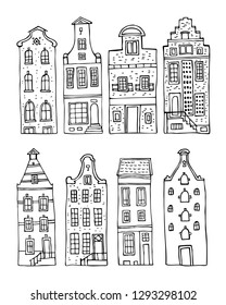 Amsterdam vector sketch hand drawn illustration. Set of cartoon outline houses facades  isolated on white background