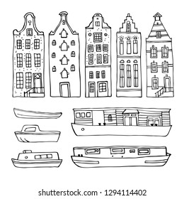 Amsterdam vector sketch hand drawn illustration. Set with outline houses and boats isolated on white background