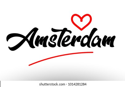 amsterdam word text of european or europe city with red love heart suitable as a logo for a company or for touristic promotion