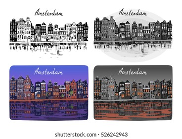 Amsterdam's typical houses. Ink imitation, black and white and colored. Vector clip-art.