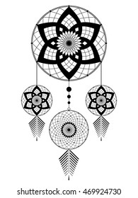 amulet of the Dream catcher from the four round elements and feathers on a white background