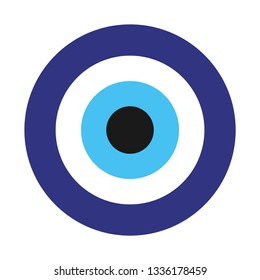 Amulet from evil eye.Flat simple amulet isolated on white background. Blue color icon of cute talismans in the cartoon style. Vector illustration. Image of Fatima's Eye.