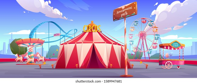 Amusement carnival park with circus tent, ferris wheel, roller coaster, merry-go-round carousel and candy cotton booth Festive fair and recreation entertainment attractions Cartoon vector illustration