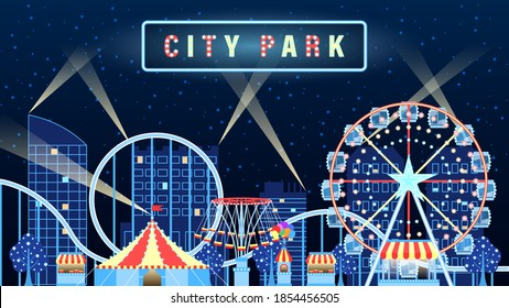 Amusement city park lights up at night flat cartoon