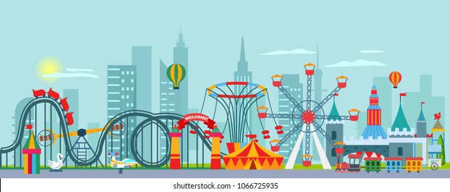 Amusement family park background with carousel, ferris wheel, circus, aerostat. Vector illustration