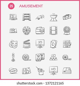 Amusement Hand Drawn Icon for Web, Print and Mobile UX/UI Kit. Such as: Entertainment, Movie, Oscar, Award, 3d, Display, Monitor, Preview, Pictogram Pack. - Vector