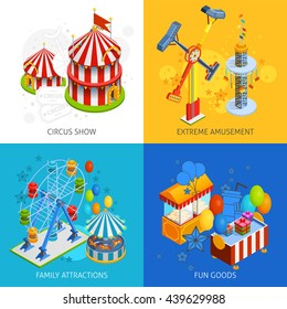 Amusement park 2x2 isometric design concept set of circus show extreme amusement family attractions and fun goods compositions vector illustration