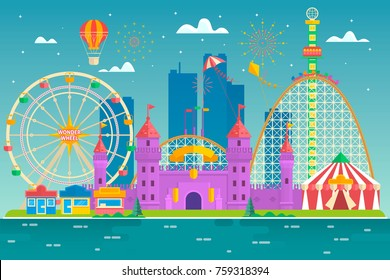 Amusement park with attraction and rollercoaster, tent with circus, carousel or round attraction, merry go round, ferris wheel Flat colorful vector illustration