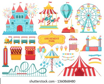Amusement park attractions. Carnival kids carousel, ferris wheel attraction and amusing fairground entertainments. Circus festival, fair wheel and train. Isolated vector illustration icons set