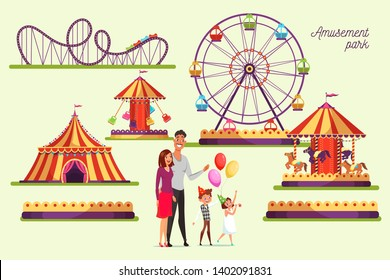 Amusement park attractions illustrations set. Merry go round vintage carousel isolated design element. Roller coasters, ferris wheel, swings. Funfair, carnival, festival flat vector cliparts pack