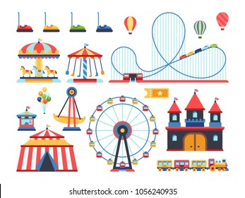 Amusement park attractions. Train, ferris wheel, carousel and roller coaster flat vector icons. Amusement and carousel, park with circus and festival entertainment illustration