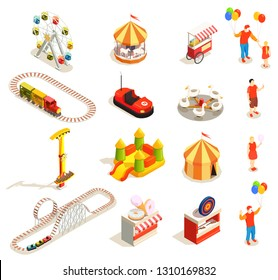 Amusement park attractions and visitors isometric icons set isolated on white background 3d vector illustration