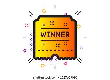 Amusement park award sign. Halftone circles pattern. Winner ticket icon. Classic flat winner ticket icon. Vector