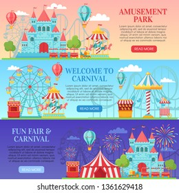 Amusement park banner. Amusing festival attractions, kids carousel and ferris wheel attraction. Amuse ferry, funfair fairground or circus ticket. Banners background vector illustration set