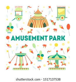Amusement Park Banner Template with Carousels and Festive Park Attractions Vector Illustration