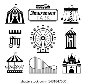 Amusement park black icons. Recreation fun attractions signs, carnival carrousel, circus ticket service, skyline train rollercoaster and festival fun tents symbols