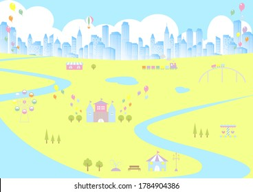 amusement park and building city landscape